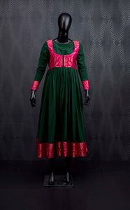 Dark green and pink silk anarkali suit