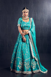 Sea foam green silver zari lehenga
