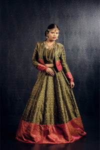 Olive green and pink jacket lehenga