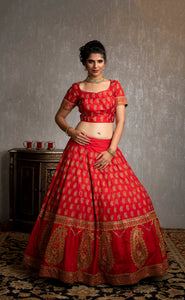Red and gold Bridal lehenga