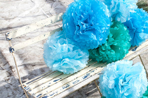 Set of 3 Aqua Tissue Paper Pom Poms