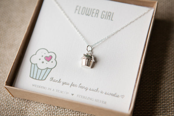 Flower Girl Silver Cupcake Necklace