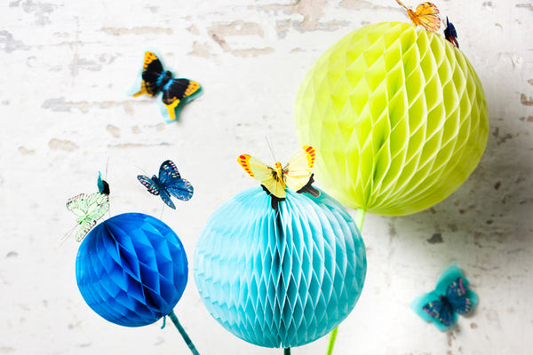 Set of 3 Spring Tissue Paper Honeycomb Balls