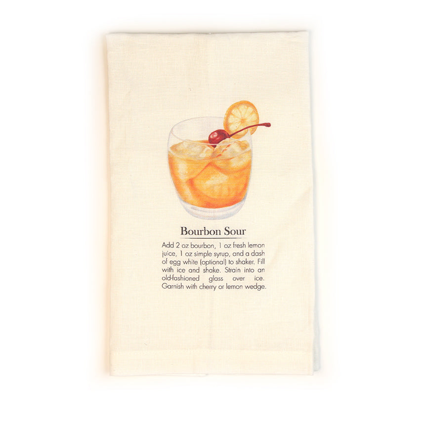 Bourbon Sour Cocktail Tea Towel-Odds and Ends-KY for KY Store