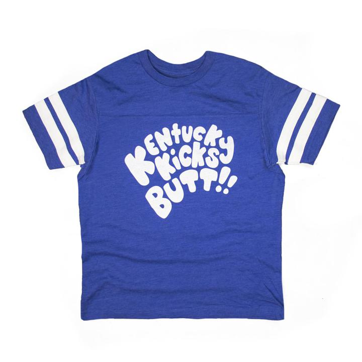 Kentucky Kicks Butt Kids Tee (Blue)-Kids-KY for KY Store