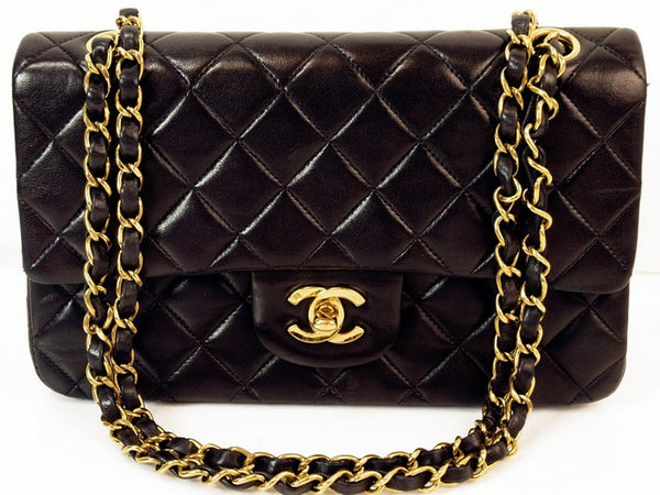 Chanel Black Lambskin Double Chain 2.55 Leather Handbag (Authentic Pre Owned)
