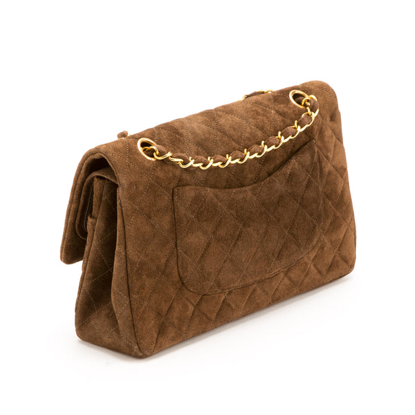 Chanel Brown Suede Double Flap Bag (Pre Owned)