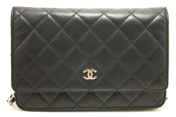 Chanel Black Quilted Lambskin Classic Wallet On Chain WOC (SHB-10011)