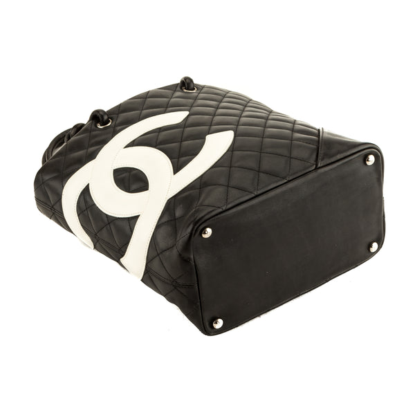 Chanel Black and White Quilted Leather Cambon Tote (4078010)