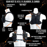 Gear Vest 2L (1L Bladder 2L Total Cargo): Ideal For Running Biking Triathlon - Black-Orange - Packs