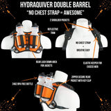 Hydraquiver Double Barrel Hydration Pack: Ideal For Runners With Larger Chest Diameters And For Runs Greater Than 2 Hours. - Db Orange -