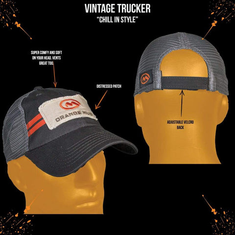 Orange Mud Vintage Trucker Running Hat Gray - Accessories