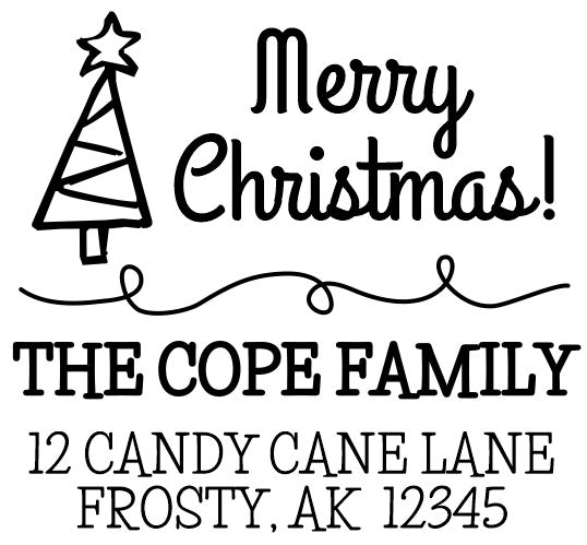 Merry Christmas Tree Address Stamp
