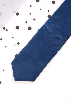 Childrens Blue Polka Dot Print Tie - Mens Tweed Suits