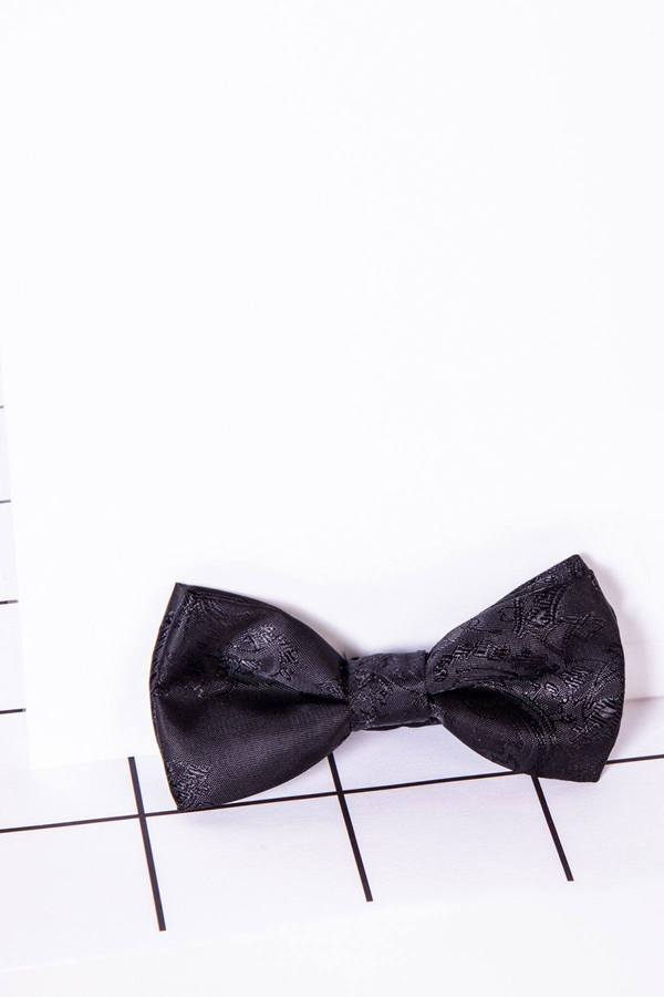 Childrens Black Paisley Print Bow Tie - Mens Tweed Suits