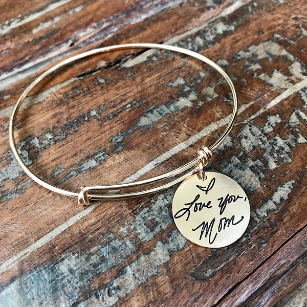 Gold Filled Handwritten Expandable Bracelet with Charm