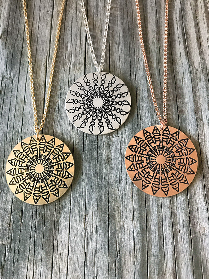 Namedala® - Yellow Gold or Rose Gold Mandala Name Necklace