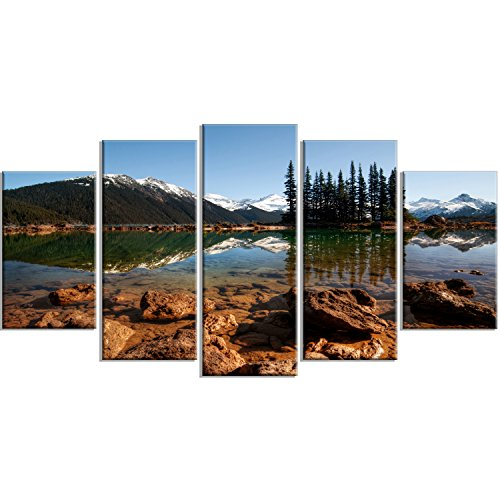 Designart PT14417-373 Beautiful Clear Lake with Pine Trees Extra Large Landscape Art Canvas, 60x32, Blue