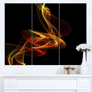Red Yellow Twisted Waves Fractal Large Abstract Canvas Wall Art