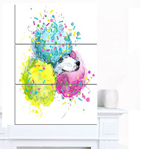 Designart PT13242-3PV Cute White Dog with Color Spheres Contemporary Animal Art Canvas,,28x36