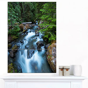 Designart PT12313-3PV Rushing Water in Forest Creek Extra Large Landscape Canvas Art, 28x36""
