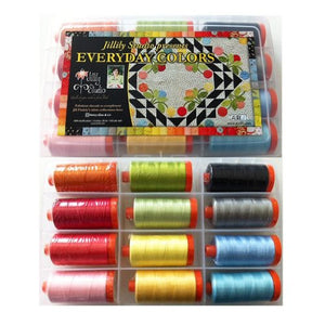 Aurifil Thread Set EVERYDAY COLORS by Jill Finley 50wt Cotton 12 Large Spools 1300M (1422 yd) each