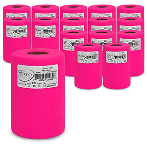 "Expo International TL2424FS-16 Classic 6"" Tulle Spool (16 Pack) 100 yd Fuchsia"