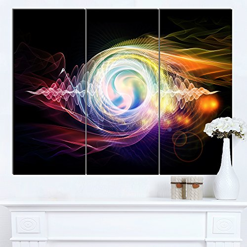 Bright Wave Particle in Air on Black Large Abstract Canvas Wall Art