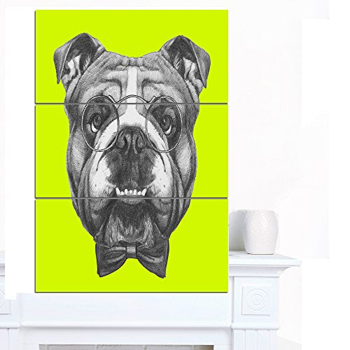 Designart PT13202-3PV English Bulldog with Bow Tie Contemporary Animal Art Canvas,28x36