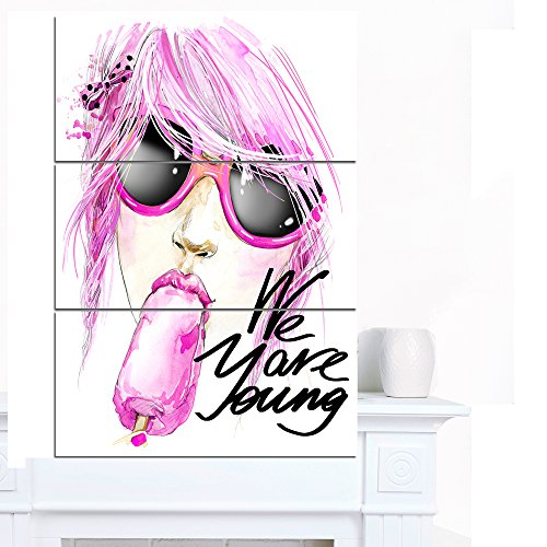 Designart PT13254-3PV Sexy Pink Girl Eating Lollipop Modern Portrait Canvas Art,28x36