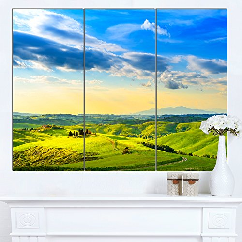 Designart PT13070-3P Colorful Tuscany Countryside Farm Landscape Canvas Wall Art, 36x28""