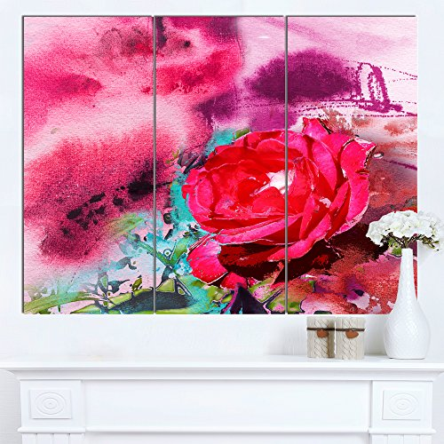 Designart PT14958-3P Red Rose on Abstract Paper Floral Canvas Artwork,36x28