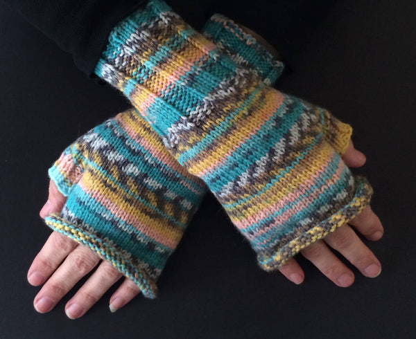 Unisex Fingerless Gloves - Fair Isle Style Gloves - Blue, Yellow, and Pink Rolltop Gloves - Striped Half Gloves - Unisex Winter Gloves
