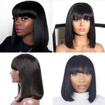 Straight Short Lace Front Human Hair Bob Wigs With Bangs