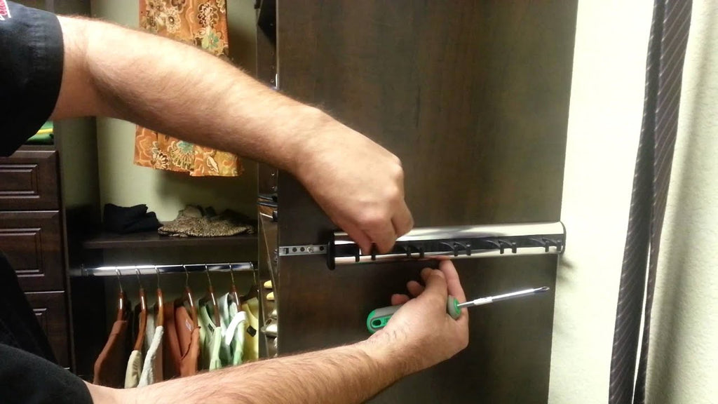 How to adjust sliding belt and tie racks from The Closet Doctor.