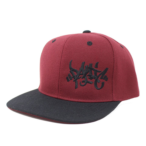 The Burgundy/Black Tag Logo Snapback Hat - concreteaddicts