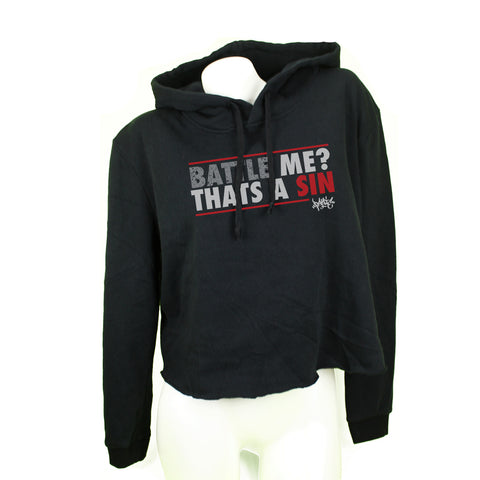 Battle Me Black Womens Cropped Fleece Hoodie - concreteaddicts