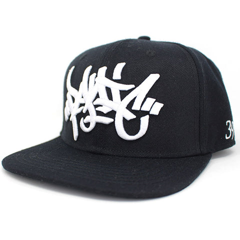 The 3D Tag Snapback Hat in Black - concreteaddicts