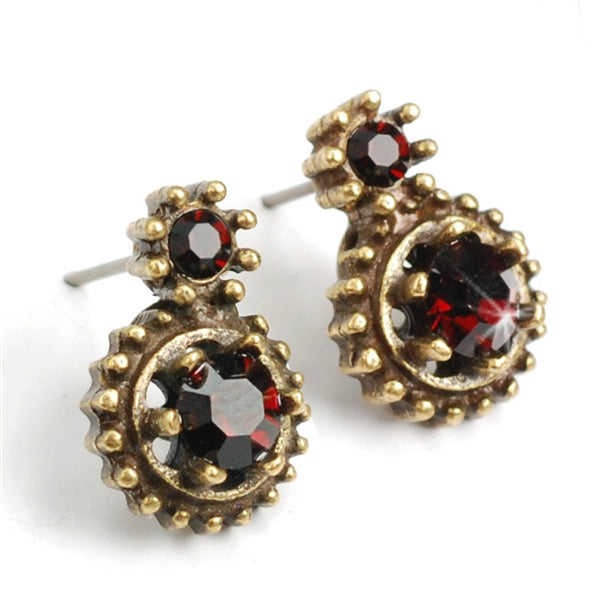 Double Stone Crystal Stud Earrings E1247
