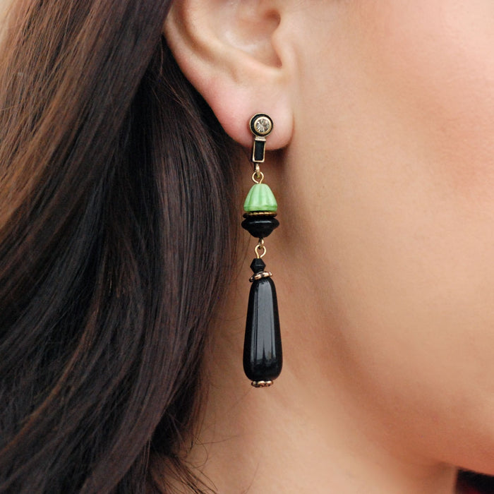 Green and Black Vintage Egyptian Earrings