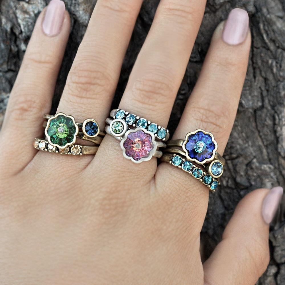 Inspirational Crystal Stack Rings - Set of 3