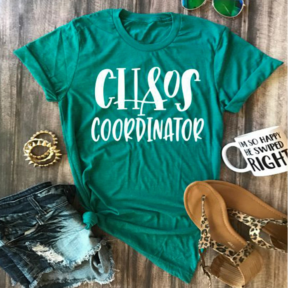 funny green chaos coordinator t-shirt top
