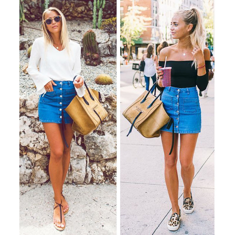 Fashion High Waist Denim Skirt