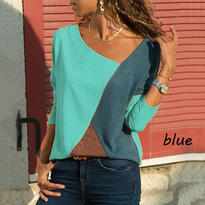Blue Patchwork Blouse