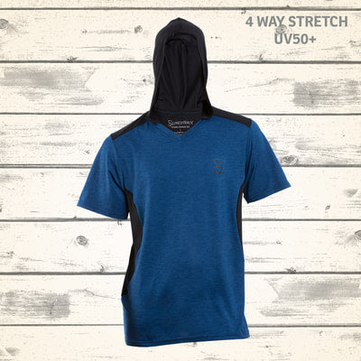 Totara Mens Hooded Tee - Blue Stone