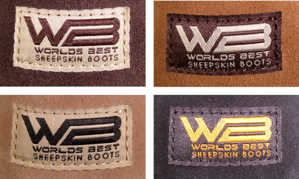 Tags on our classic boots showing all four colors