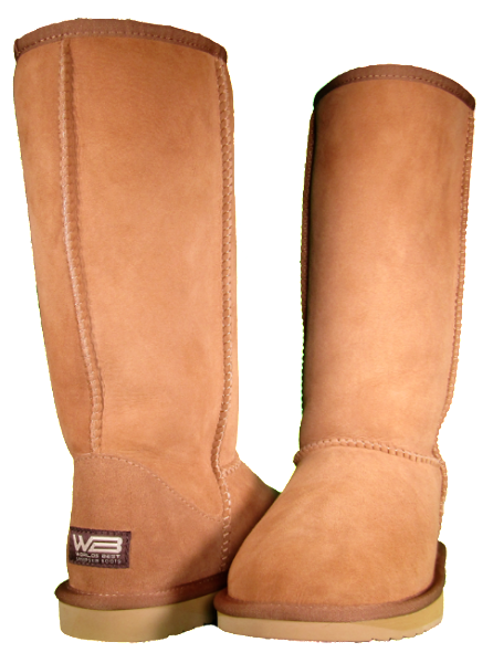 Both classic tall sheepskin boots in chestnut