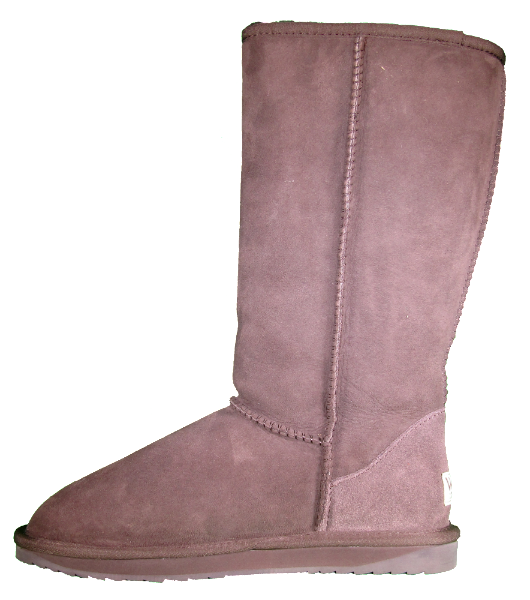 Side view of classic tall sheepskin boots in chocolate