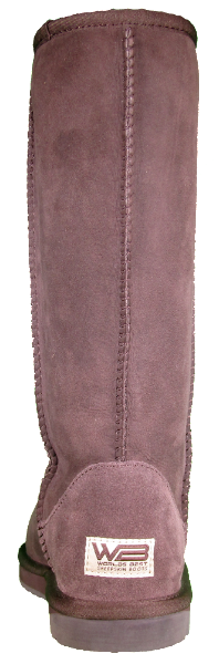 Rear view of classic tall sheepskin boot in chocolate