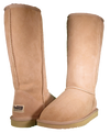 Both classic tall sheepskin boots in sand